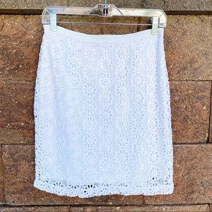 💜Ann Taylor White Lace Floral Skirt
